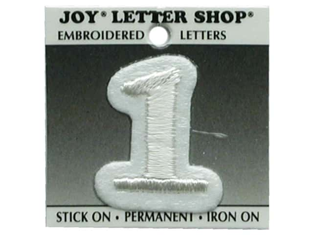 "Joy Lettershop Iron-On Number  ""1"" Embroidered 1 1/2 in. White"