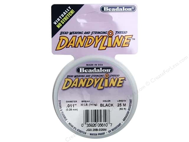 Beadalon DandyLine Beading Thread 0.28 mm Black 82 ft.