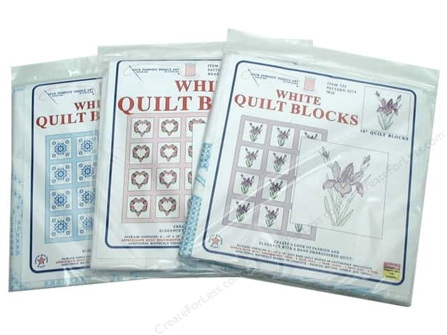 "Jack Dempsey Quilt Block 18"" 6pc White"
