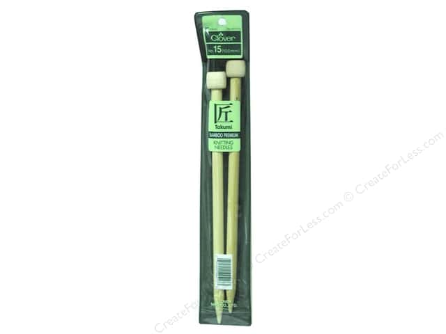 Clover Bamboo Single Point Knitting Needles 9 in. Size 15 (10.0 mm)
