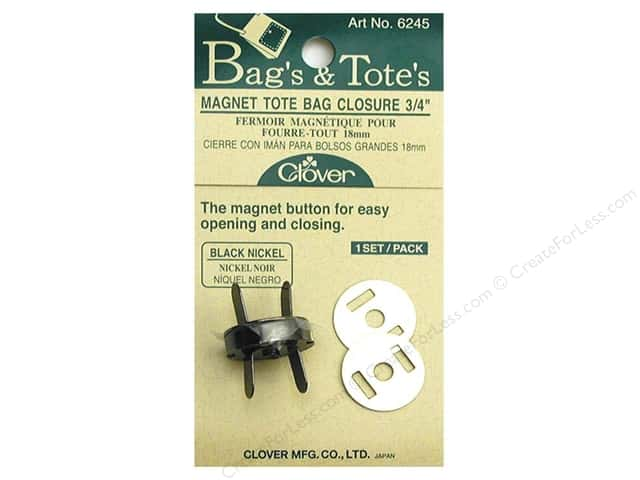 Clover Magnet Tote Bag Closures 3/4 in. Black Nickel