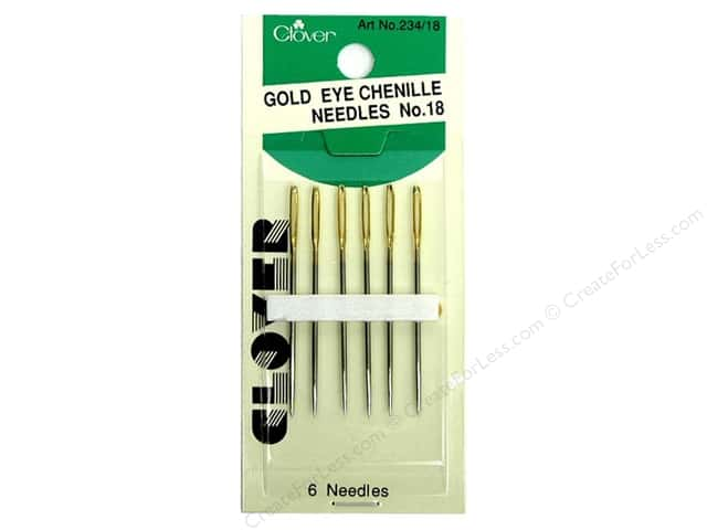 Clover Gold Eye Chenille Needles - Size 18 6 pc.