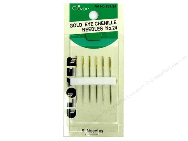 Clover Gold Eye Chenille Needles - Size 24 6 pc.