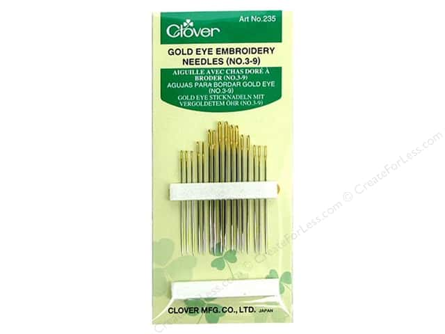 Clover Gold Eye Embroidery Needles - Size 3 - 9 16 pc.
