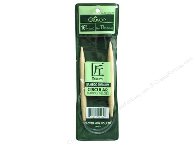 Clover Bamboo Circular Knitting Needles 16 in. Size 11 (8 mm)