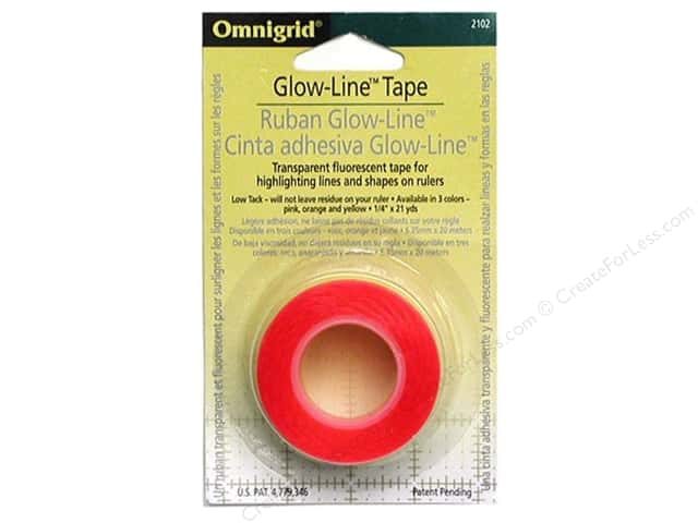 "Omnigrid Glow-Line Tape 1/4""x 7' Pink/Orange/Yellow"