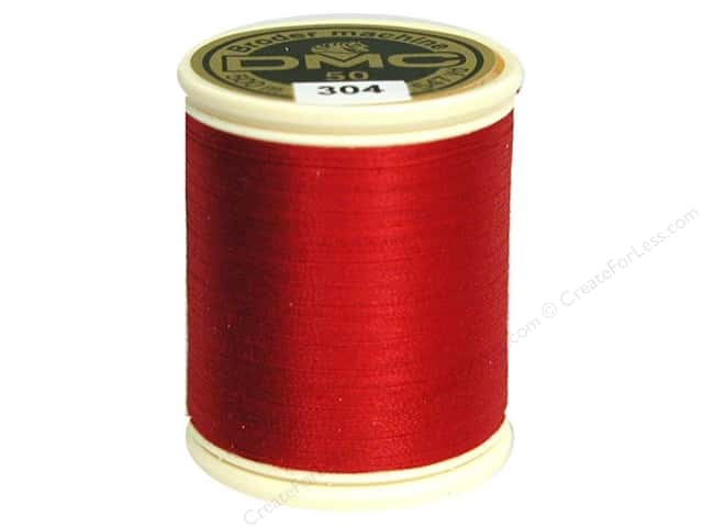 DMC Cotton Machine Embroidery Thread 50 wt. 547 yd. #304 Medium Red