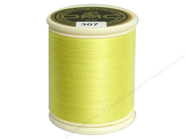 DMC Cotton Machine Embroidery Thread 50 wt. 547 yd. #307 Lemon