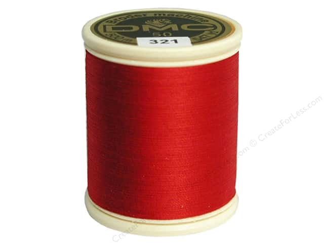 DMC Cotton Machine Embroidery Thread 50 wt. 547 yd. #321 Red