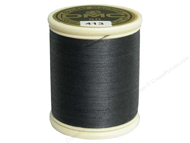 DMC Cotton Machine Embroidery Thread 50 wt. 547 yd. #413 Dark Pewter Grey