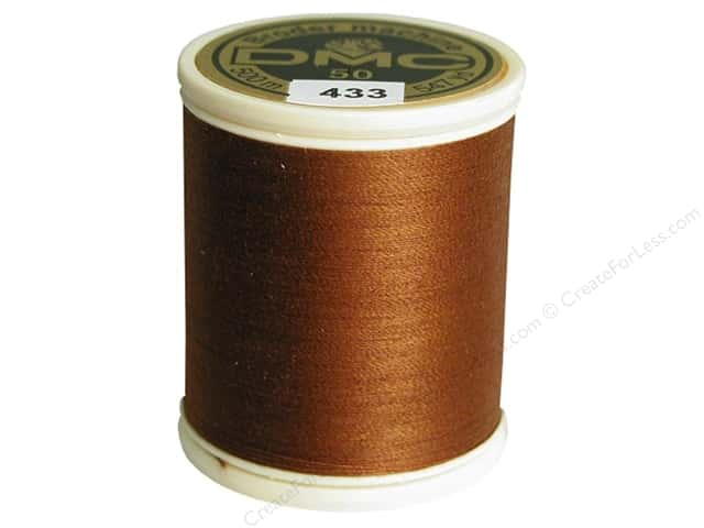 DMC Cotton Machine Embroidery Thread 50 wt. 547 yd. #433 Medium Brown