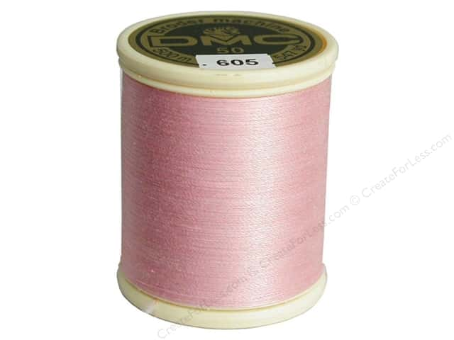 DMC Cotton Machine Embroidery Thread 50 wt. 547 yd. #605 Very Light Cranberry