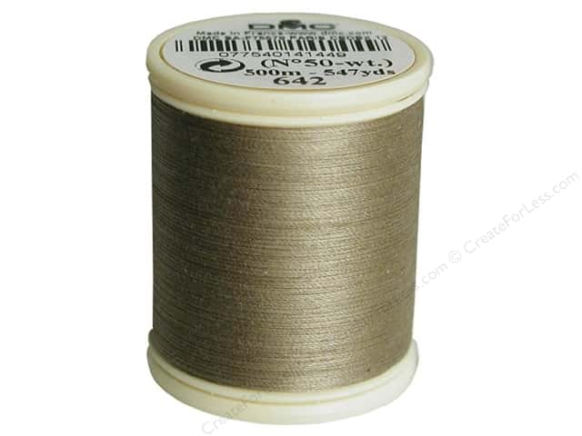 DMC Cotton Machine Embroidery Thread 50 wt. 547 yd. #642 Dark Beige Grey