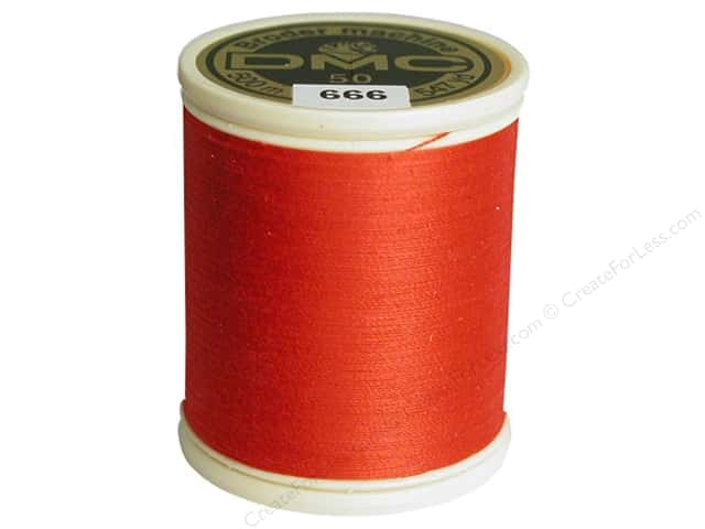 DMC Cotton Machine Embroidery Thread 50 wt. 547 yd. #666 Bright Red