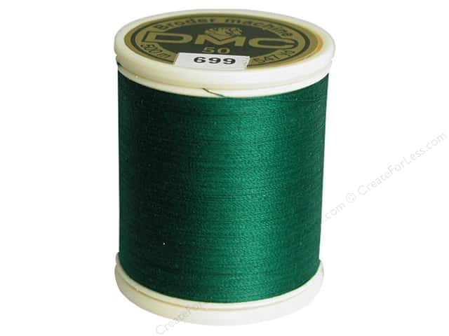 DMC Cotton Machine Embroidery Thread 50 wt. 547 yd. #699 Green