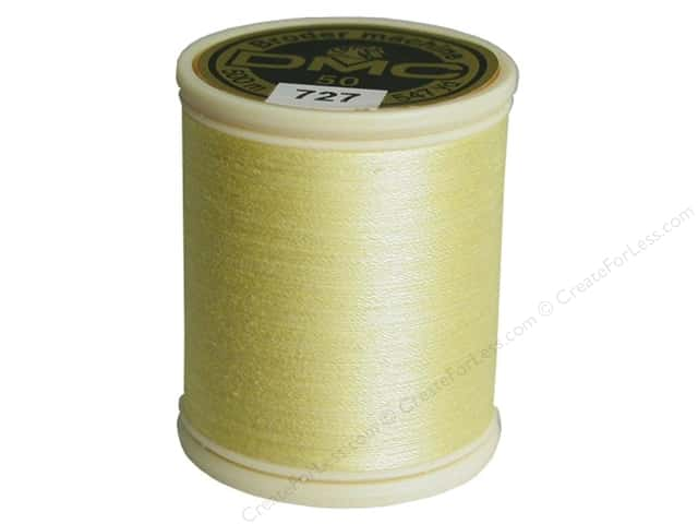 DMC Cotton Machine Embroidery Thread 50 wt. 547 yd. #727 Very Light Topaz