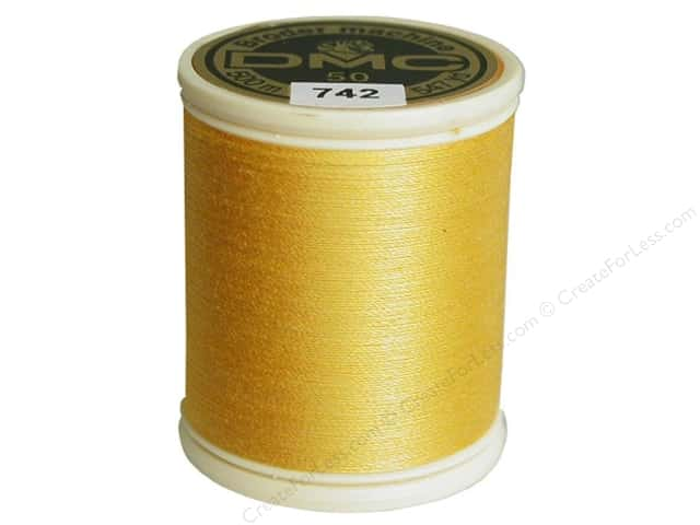 DMC Cotton Machine Embroidery Thread 50 wt. 547 yd. #742 Light Tangerine