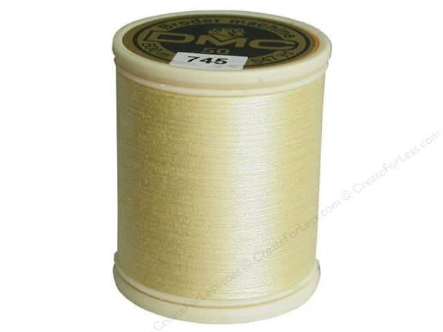 DMC Cotton Machine Embroidery Thread 50 wt. 547 yd. #745 Light Pale Yellow