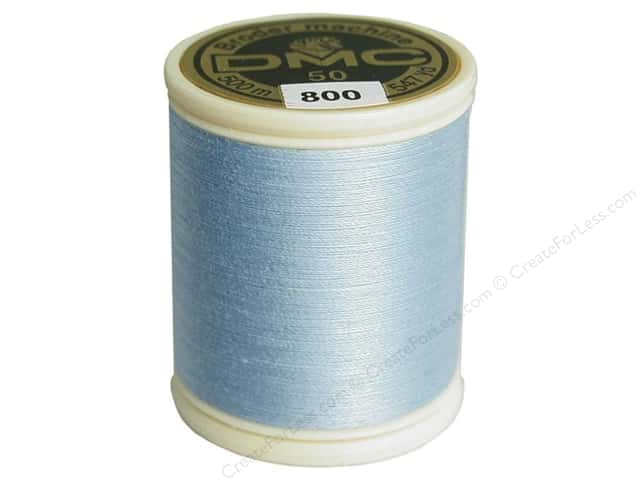 DMC Cotton Machine Embroidery Thread 50 wt. 547 yd. #800 Pale Delft Blue