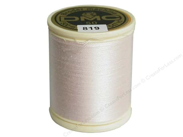 DMC Cotton Machine Embroidery Thread 50 wt. 547 yd. #819 Light Baby Pink