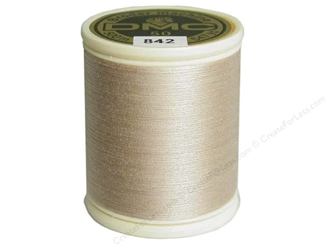 DMC Cotton Machine Embroidery Thread 50 wt. 547 yd. #842 Varigated Light Beige Brown