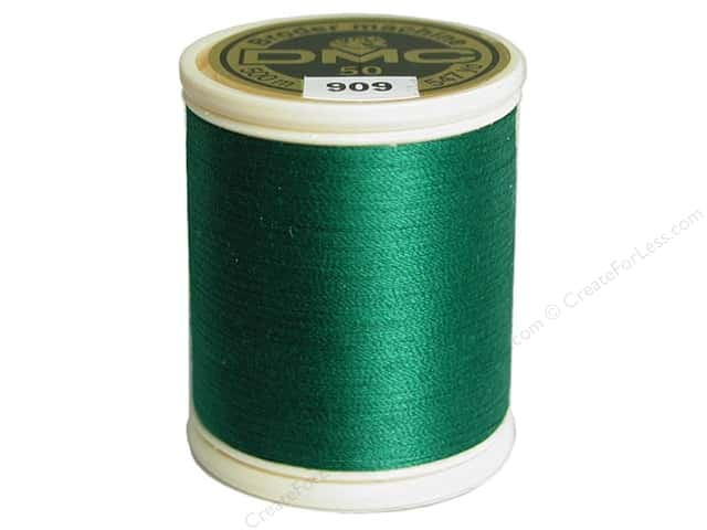 DMC Cotton Machine Embroidery Thread 50 wt. 547 yd. #909 Very Dark Emerald Green