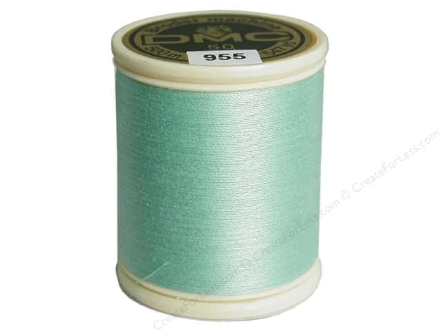DMC Cotton Machine Embroidery Thread 50 wt. 547 yd. #955 Light Nile Green