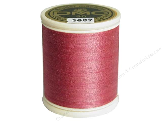 DMC Cotton Machine Embroidery Thread 50 wt. 547 yd. #3687 Mauve