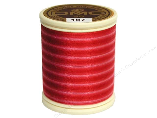 DMC Cotton Machine Embroidery Thread 50 wt. 547 yd. #107 Varigated Carnation