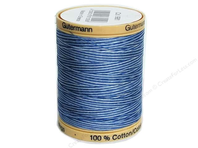 Gutermann 100% Natural Cotton Sewing Thread 875 yd. #9981 Variegated Blue Awakening
