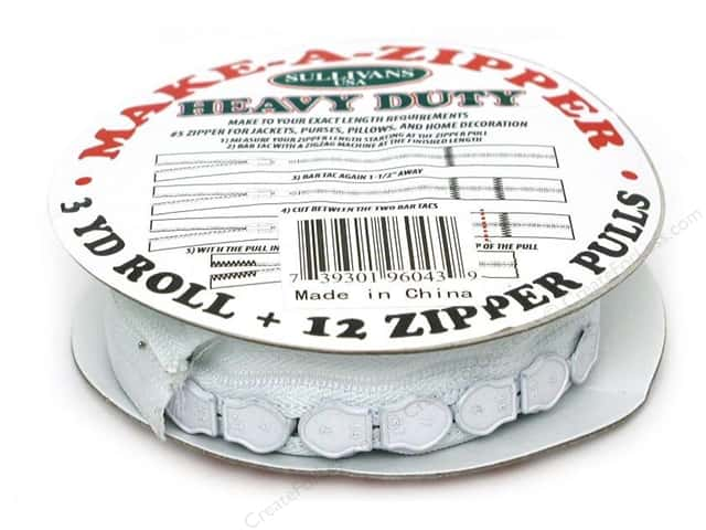 Sullivans Heavy-Duty Make-A-Zipper Kit 3 yd. White
