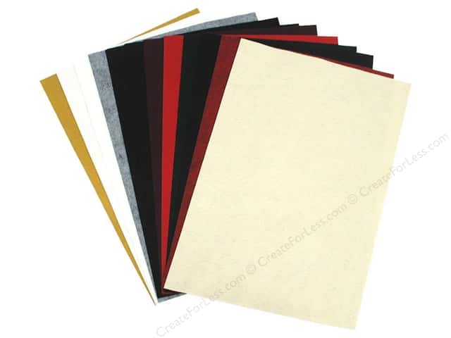 National Nonwovens 20% Wool Felt 12 x 18 in. Holiday Mix (10 sheets)