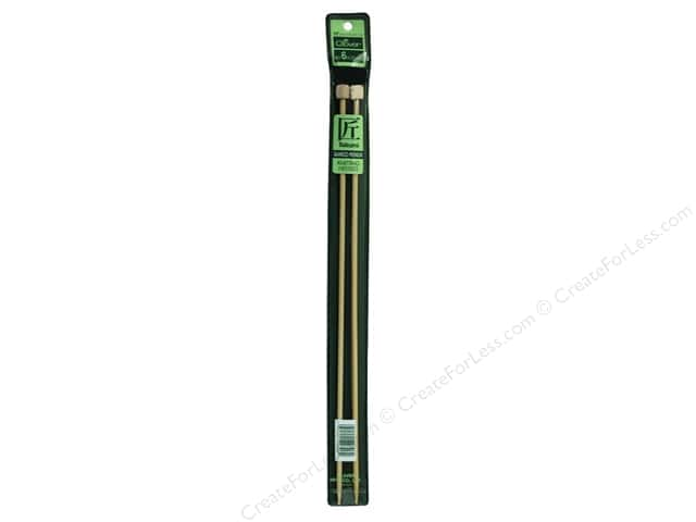 Clover Bamboo Needle Single Point 13 in. Size 6