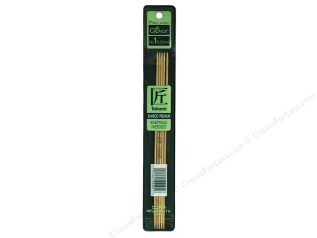 Clover Bamboo Knitting Needle Double Point 7 in. Size 1 (2.25 mm) 5 pc.