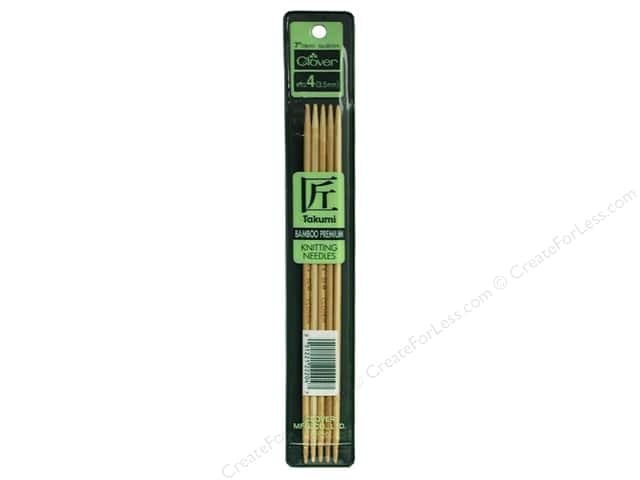 Clover Bamboo Knitting Needle Double Point 7 in. Size 4  (3.5 mm) 5 pc.