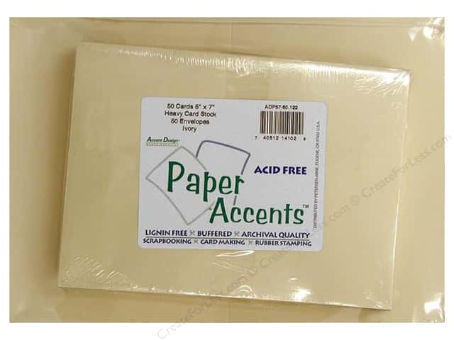 Paper Accents 5 x 7 in. Blank Card & Envelopes 50 pc. #122 Ivory