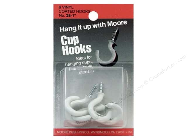 Moore Cup Hooks Vinyl Coated 1 in. White 6 pc