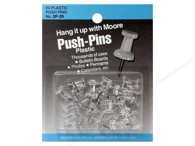 Moore Push Pin Plastic Head 20 pc Clear