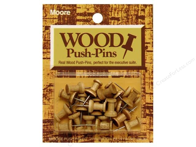 Moore Push Pin Wooden Head 20 pc Golden Oak