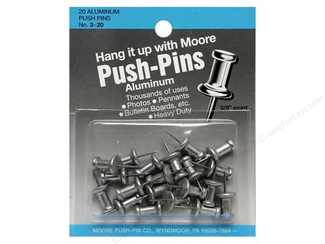 Moore Push Pin Aluminum Head 20 pc Silver