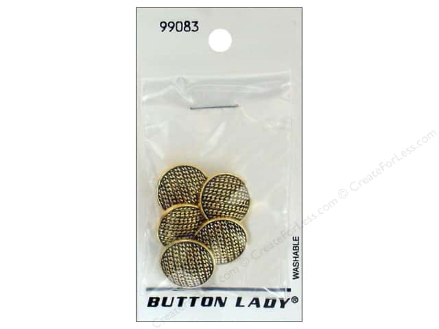 JHB Button Lady Buttons 5/8 in. Antique Gold #99083 5 pc.