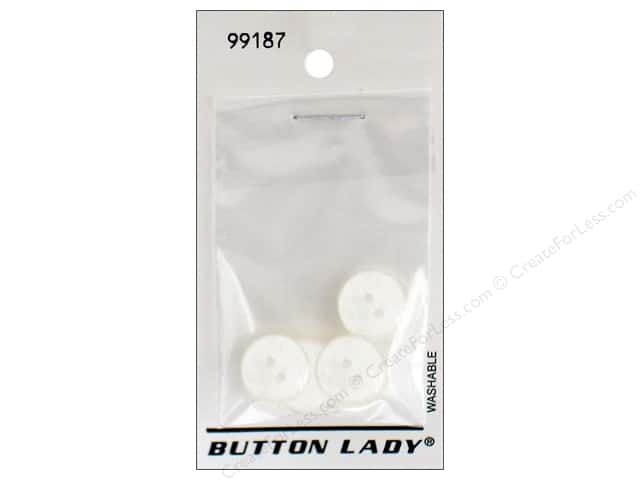 JHB Button Lady Buttons 5/8 in. White #99187 6 pc.