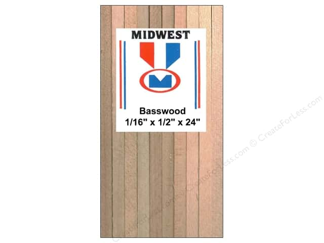 Midwest Basswood Strip 1/16 x 1/2 x 24 in.