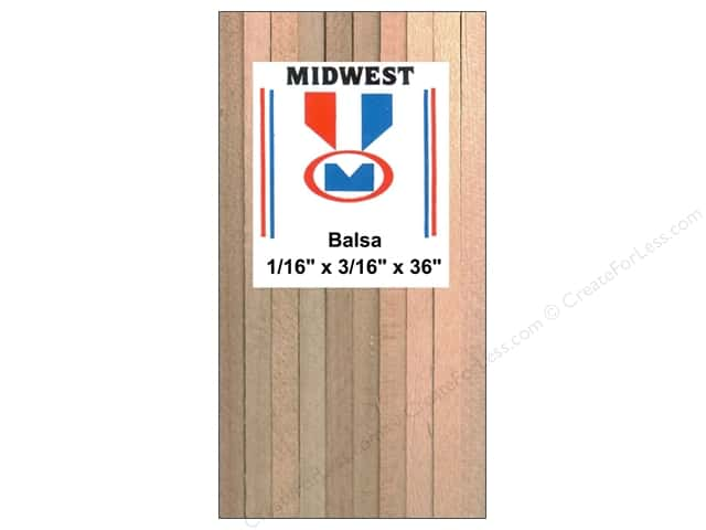 Midwest Balsa Wood Strips 1/16 x 3/16 x 36 in. (36 pieces)