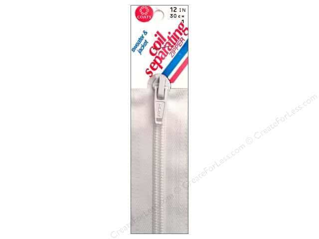 Coats Sweater & Jacket Coil Separating Zipper 12 in. #1 White