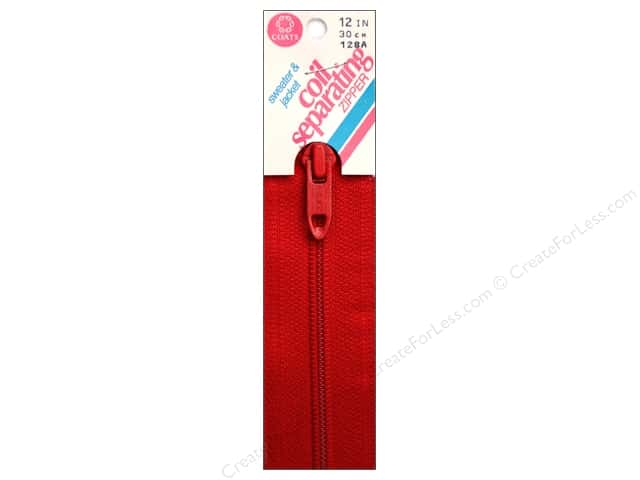 Coats Sweater & Jacket Coil Separating Zipper 12 in. #128a Atom Red
