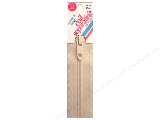 CoCoats Sweater & Jacket Coil Separating Zipper 18 in. #256 Natural