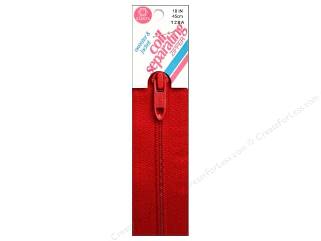 Coats Sweater & Jacket Coil Separating Zipper 18 in. #128a Atom Red