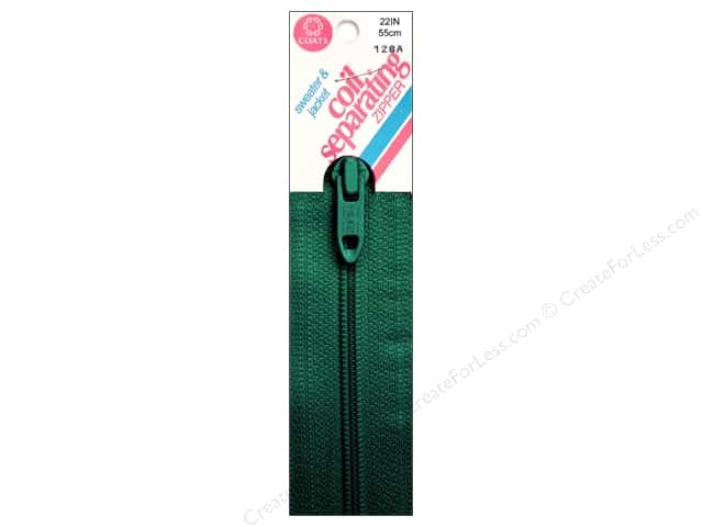Coats Sweater & Jacket Coil Separating Zipper 22 in. #61a Forest Green