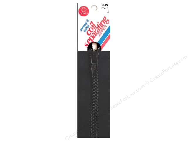 Coats Sweater & Jacket Coil Separating Zipper 24 in. #2 Black